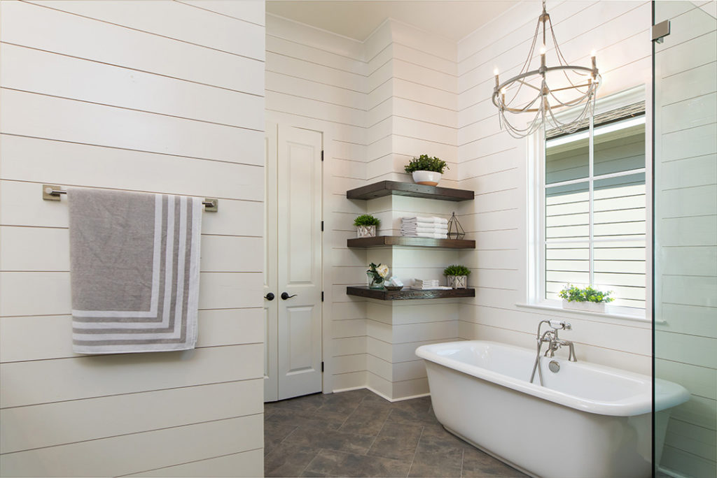 Bathroom open floating shelves